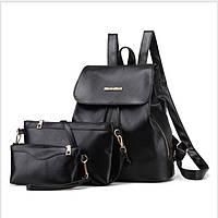 0453 Рюкзак женский  эко  кожа набор черный