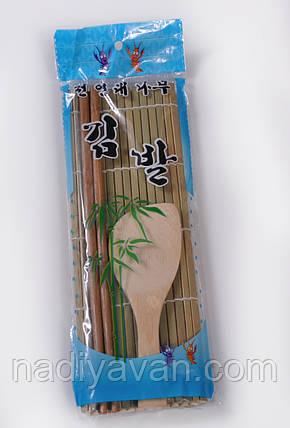 Макису бамбуковый ролик + ложка + бамбуковые палочки  для скатывания роллов, фото 2