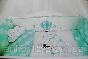 """Постельный комплект в кроватку """"путешественник"""" зеленый"""