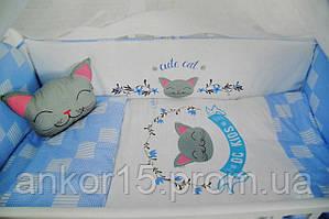 """Постельный комплект в кроватку """"милый котик"""" синее"""