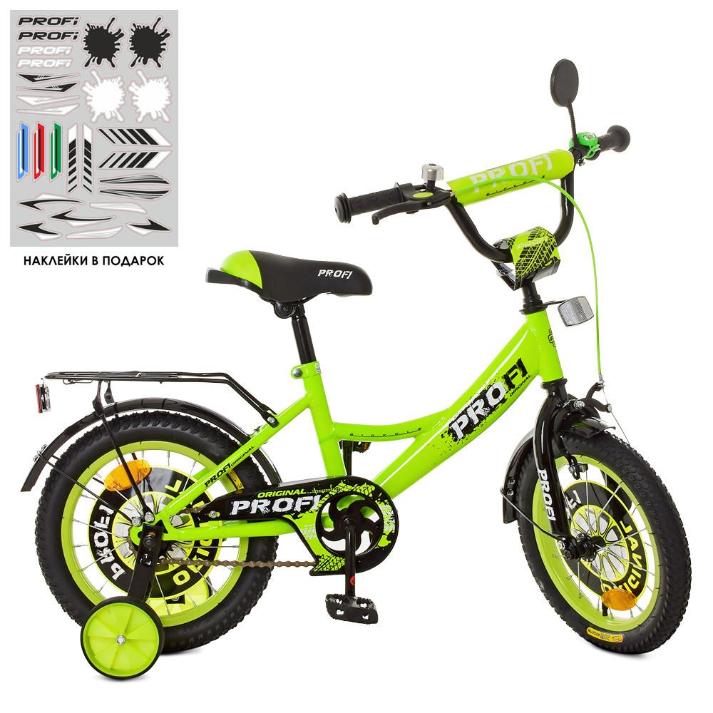 Велосипед детский PROF1 14 Д. XD1442 салатово-черный