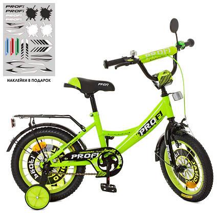 Велосипед детский PROF1 14 Д. XD1442 салатово-черный, фото 2