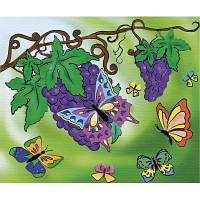 Картина розмальовка по полотну Оксамитові метелики 25х30см Идейка 7106/2 фарби в комплекті