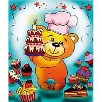 Картина розмальовка по полотну Ведмедик ласун 25х30см Идейка 7107/2 фарби в комплекті