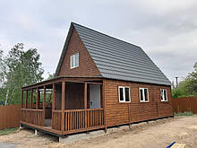 Дачный каркасный дом 6* 8 , 2 этажа с террасой
