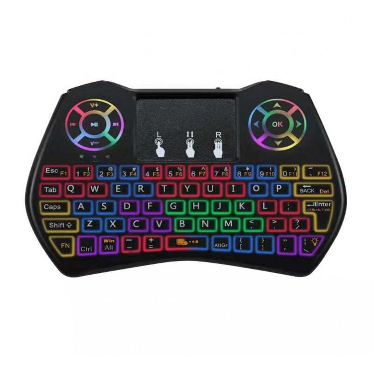 Клавиатура мини i9 Dazzle с разноцветной подсветкой airmouse (англо-русская)