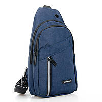 Мужская сумка через плечо рюкзак/бананка на плечо Lanpad 8283-1 синяя