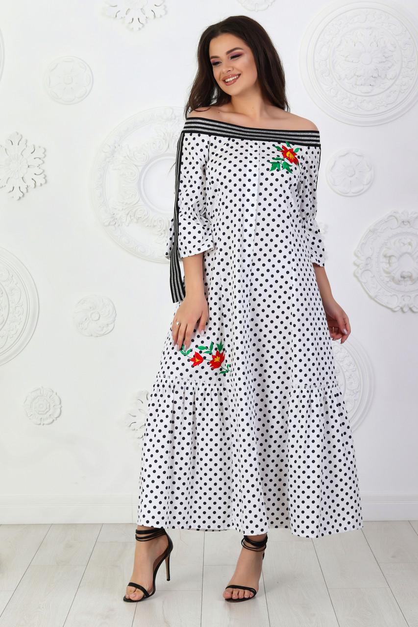 Платье коттон длинное арт. А458 в горох / в горошек