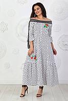 Платье коттон длинное арт. А458 в горох / в горошек, фото 1
