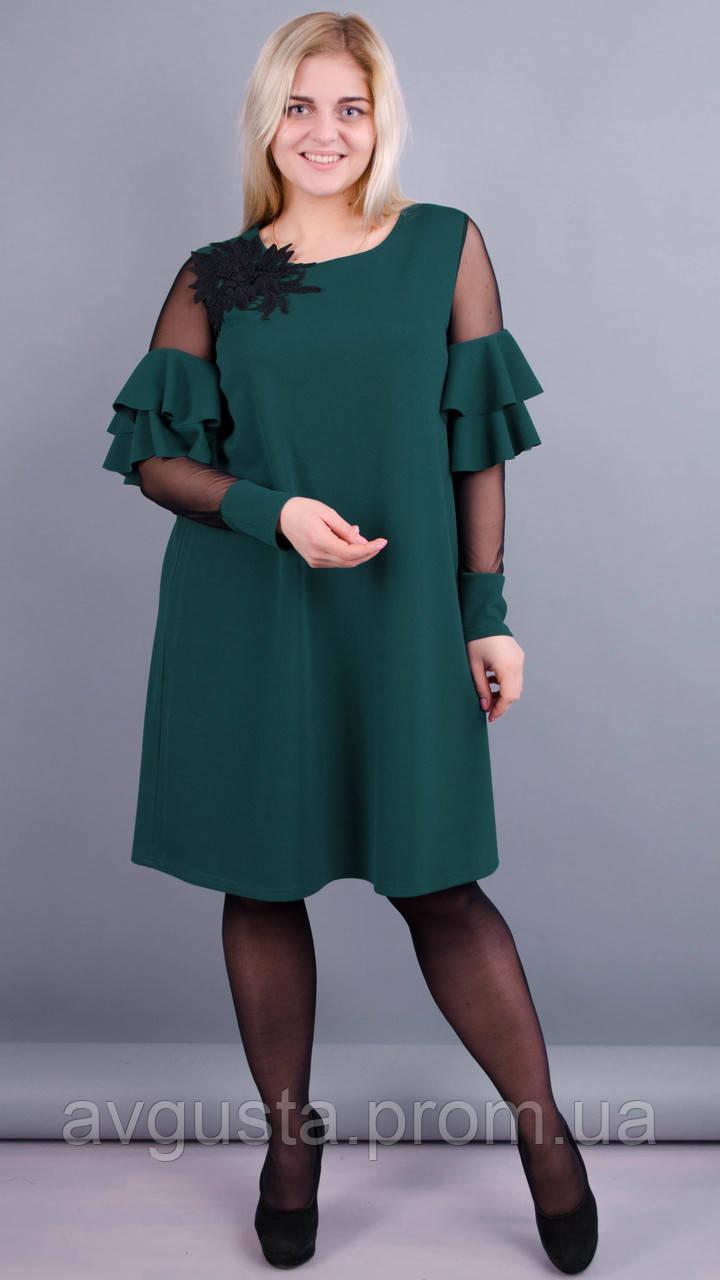 Юнона. Нарядное женское платье плюс сайз. Изумруд.