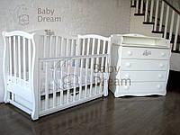 Кроватка с комодом-пеленатором Magic Design белый комплект