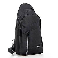 Мужская сумка через плечо рюкзак/ бананка на плечо Lanpad 8283 черная
