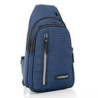 Мужская сумка через плечо рюкзак/бананка на плечо Lanpad 8293-1 синяя