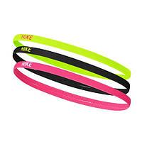 Повязки на голову Nike комплект из 3 штук черная/салатовая/розовая