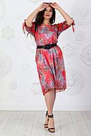 Платье шифоновое арт. А138 красное с принтом / красный / красного цвета, фото 1