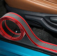 Молдинг лента КАРБОН-КРАСНЫЙ 4D  из углеродного волокна тюнинг, защитная лента кузова, порогов, багажника