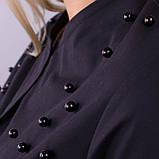 Глем. Нарядное платье-рубашка больших размеров. Черный+черный., фото 7