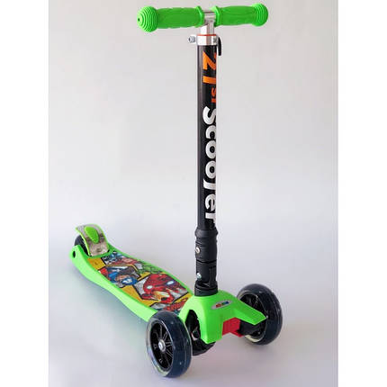 Самокат детский Scooter Pro 403 MZ-1 с подсветкой колес   Зеленый, фото 2