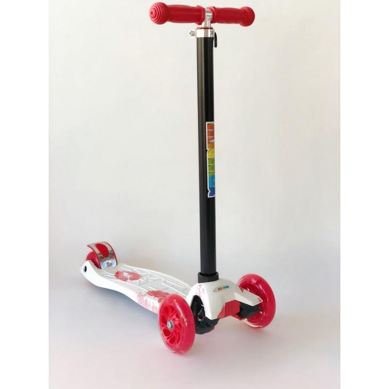 Самокат детский Scooter Pro 030 с подсветкой колес | Красный с белым