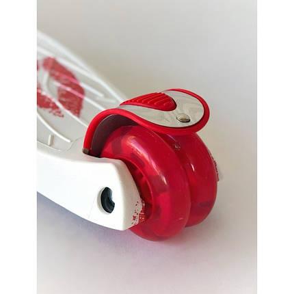Самокат детский Scooter Pro 030 с подсветкой колес | Красный с белым, фото 2