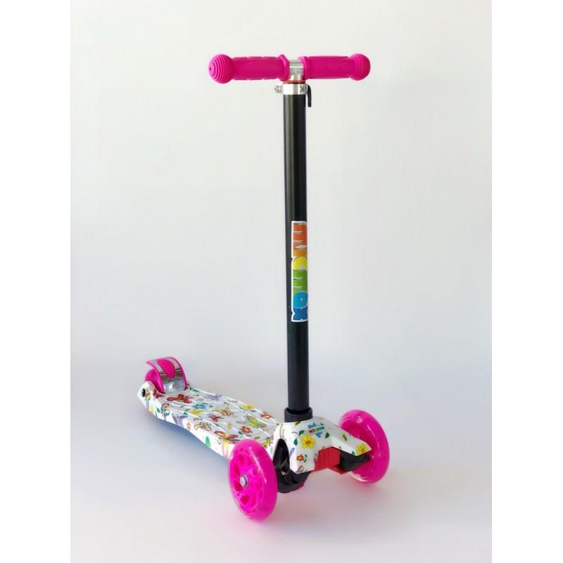 Самокат детский Scooter Pro 030 с подсветкой колес | Розовый с белым