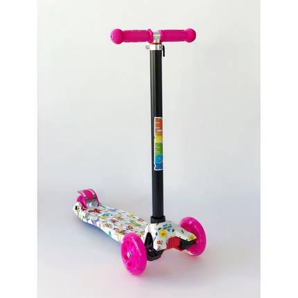 Самокат детский Scooter Pro 030 с подсветкой колес | Розовый с белым, фото 2