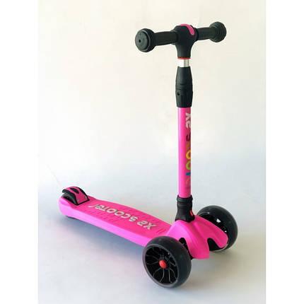 Самокат детский Scooter HH24A с подсветкой колес | Розовый, фото 2