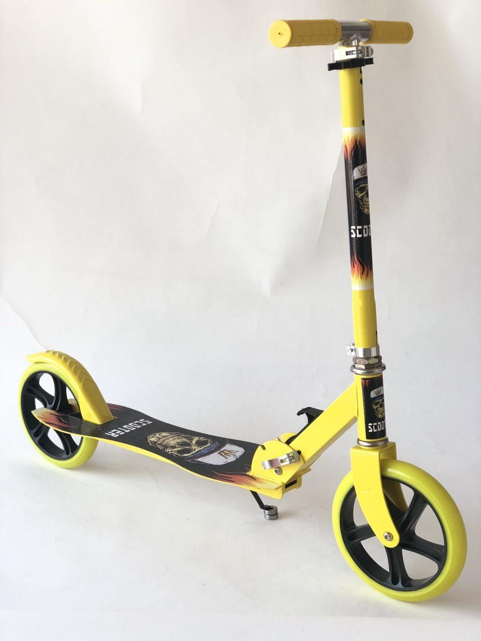 Самокат на больших колесах Scooter Pro 016 | Желтый