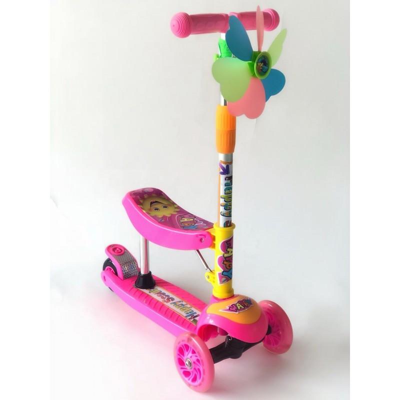 Самокат-беговел 2 в 1 Scooter Pro 028 с пропеллером   Розовый