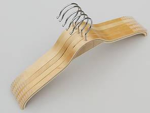 Плечики длина 38 см. Деревянные светлые с антискользящими накладками на плечах, 5 шт в упаковке