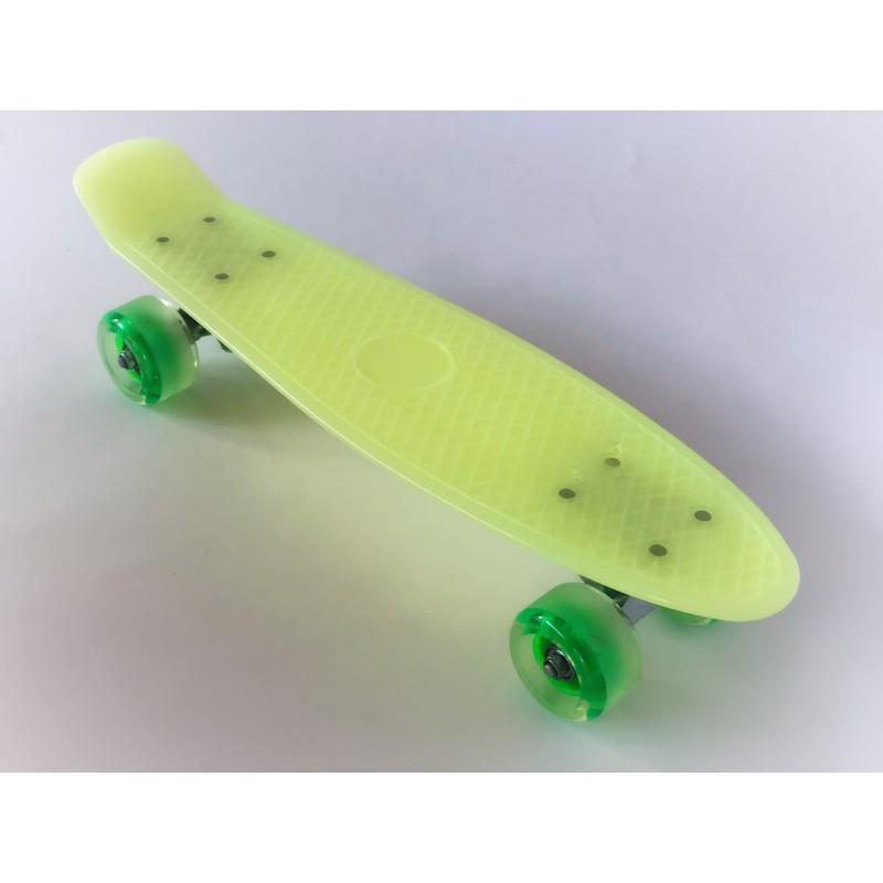 Пенни борд Penny Board 220 со светящимися колесами   Желтый