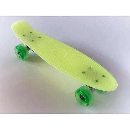 Пенни борд Penny Board 220 со светящимися колесами   Желтый, фото 2