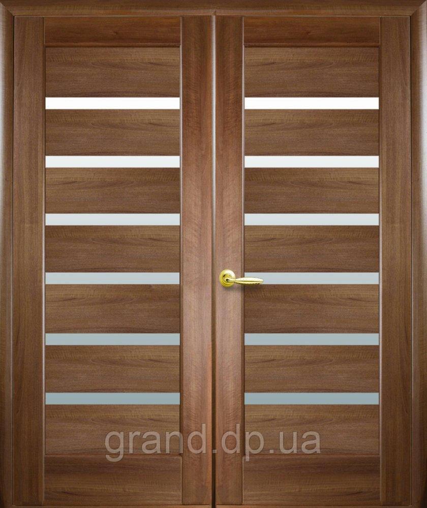 Двустворчатые двери  Линнея ПВХ Deluxe Новый стиль, цвет золотая ольха