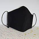 Маска захисна чорна тришарова багаторазова бавовняна жіноча, фото 3