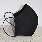 Маска захисна чорна тришарова багаторазова бавовняна жіноча, фото 5
