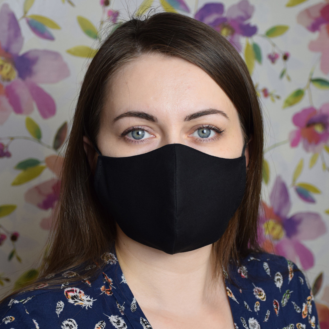 Маска захисна чорна тришарова багаторазова бавовняна жіноча