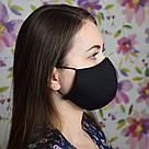 Маска захисна чорна тришарова багаторазова бавовняна жіноча, фото 4