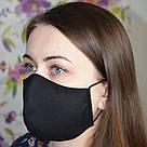 Маска захисна чорна тришарова багаторазова бавовняна жіноча, фото 2