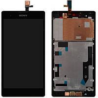 Дисплейный модуль (+ сенсор) для Sony Xperia T2 Ultra D5322, с передней панелью, черный, оригинл