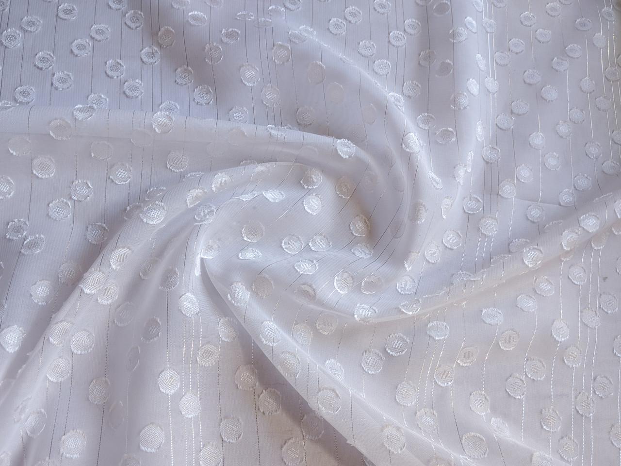 Ткань Шифон металлик точка 7 мм, молочный