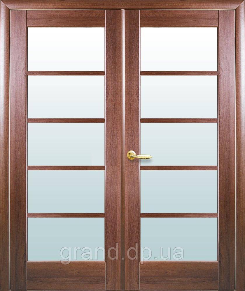 Двустворчатые двери  Муза ПВХ Deluxe Новый стиль, цвет золотая ольха