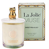 Ароматическая свеча La Jolie MUSE Sweet Pea & Lily Соевый воск, Стекло 60 часов В подарочной упаковке