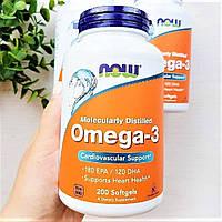 Омега-3 NOW Omega-3 1000 mg 200 caps Рыбий жир для сердца сосудов кожи суставов