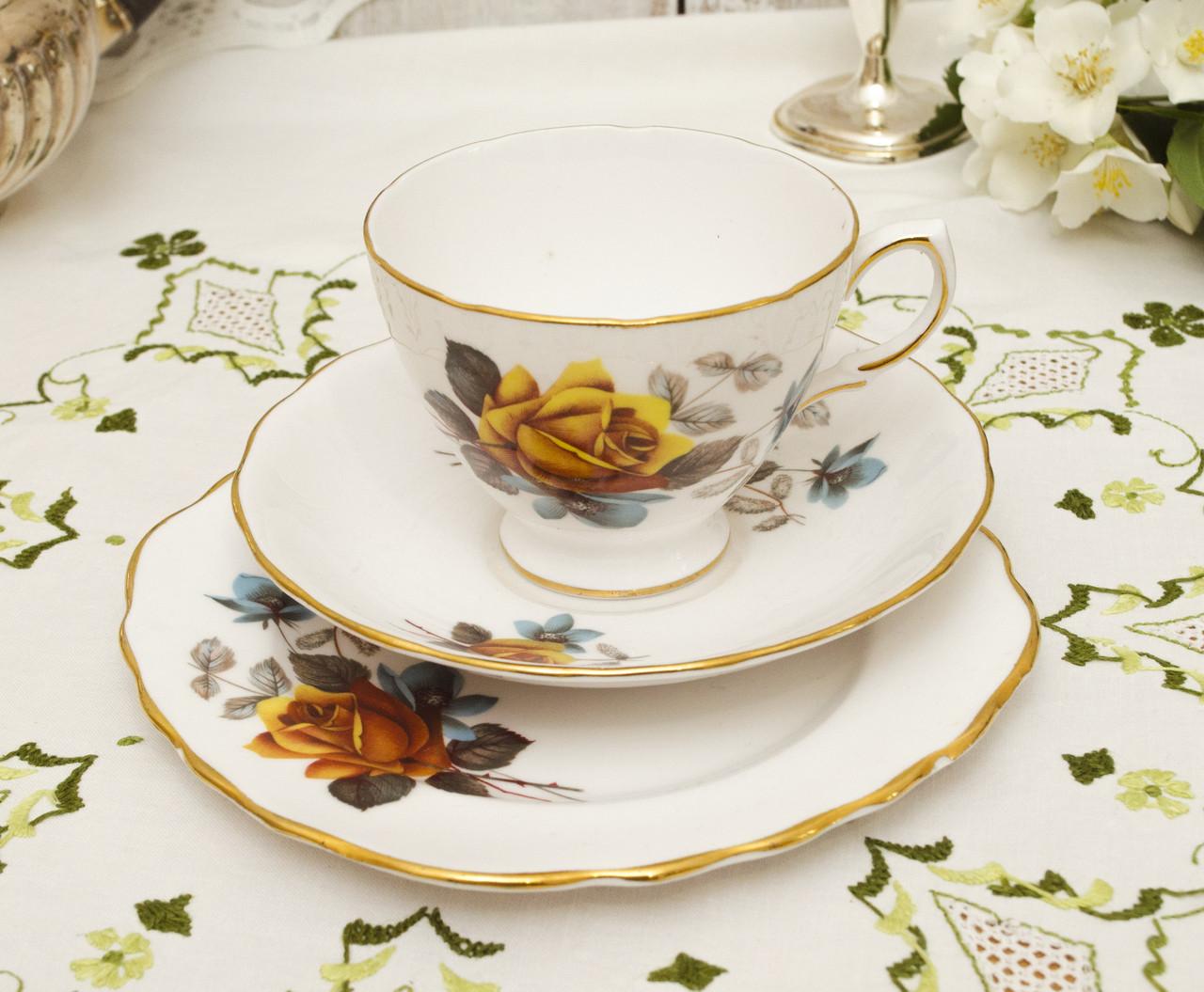 Винтажная английская фарфоровая тройка, чашка, блюдце и тарелка, фарфор, Англия, Royal Vale