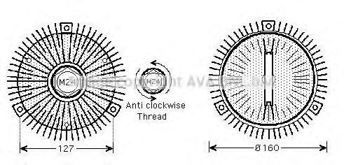 Вискомуфта вентилятора AVA AIC286
