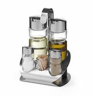 Набор для специй из 5 частей (соль, перец, уксус, оливковое масло, зубочистки)