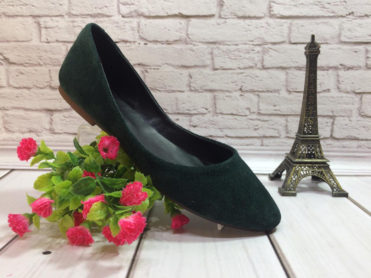 Класичні туфлі-балетки натуральна замша, колір зелений.