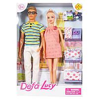 Игровой набор семейная пара куколок Kenin и Lucy беременная, Кукла Defa Lucy 8349 с аксессуарами