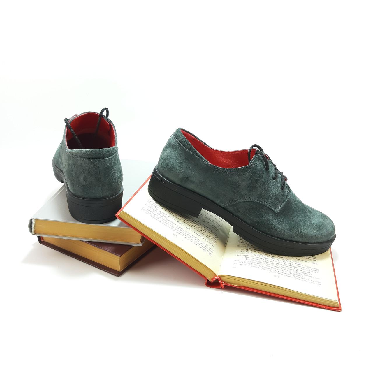 Туфлі жіночі на низькому ходу зручні, з натуральної замші сірого кольору.