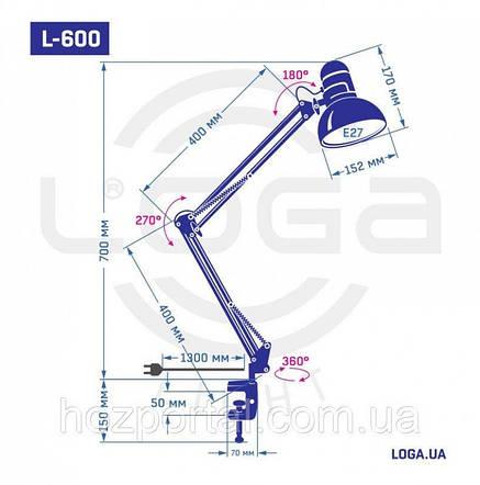 Лампа настольная на струбцине серебро LOGA L-621, фото 2